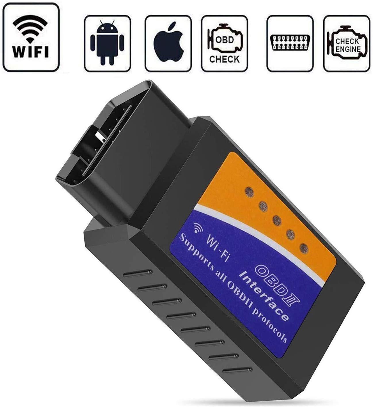 GeekerChip Elm327 WiFi OBDII, Interface Adaptateur OBD2 Lecteur de Code Outil de, Diagnostic sans Fil avec Original Puce Soutien,Compatible aveciOS/Android/PC